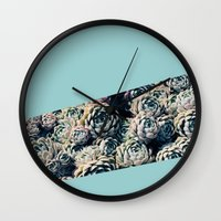 succulents Wall Clocks featuring Succulents by Leah Flores