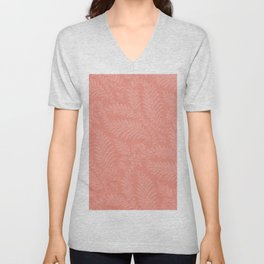 Fancy Light Pink Leaves Scroll Damask on Pantone Living Coral Unisex V-Neck