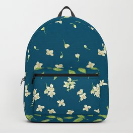 Jasmine Flowers, branches and buds in marine wind Backpack