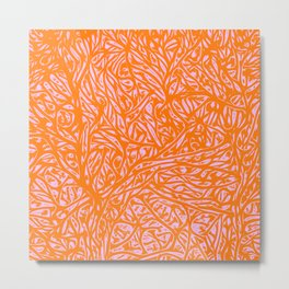 Summer Orange Saffron - Abstract Botanical Nature Metal Print