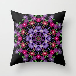 Clematis carousel on black (Number 3) Throw Pillow