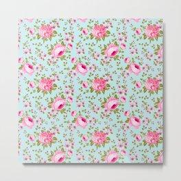Modern neon pink teal roses hortensia floral Metal Print