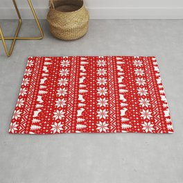 Scottish Terrier Silhouettes Christmas Sweater Pattern Rug