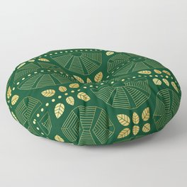 Emerald Art Deco Fan Floor Pillow