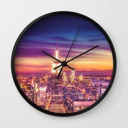 New York City Dusk Sunset Wall Clock