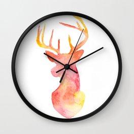 Watercolor Deer Silhouette  Wall Clock