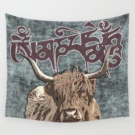 Tibetan Yak with Mani Mantra(six-syllabled Sanskrit mantra: OM MANI PADME HUM ) Wall Tapestry
