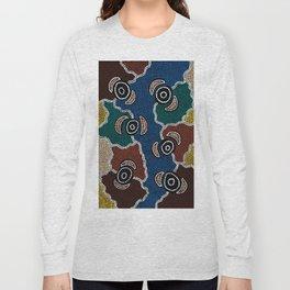 Authentic Aboriginal Art - Riverside Dreaming Long Sleeve T-shirt