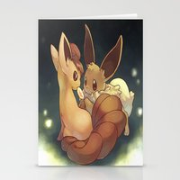 eevee Stationery Cards featuring Eevee and Vulpix by Yamilett Pimentel
