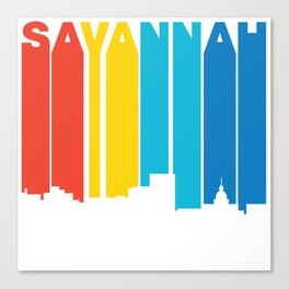 Retro 1970's Style Savannah Georgia Skyline Canvas Print