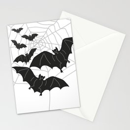 Black Bats with Spider Web Halloween Stationery Cards