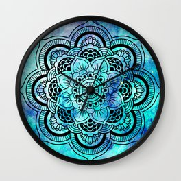 Galaxy Mandala Aqua Indigo Wall Clock