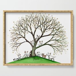 Bull Terriers Whimsical Dogs in Tree Serving Tray