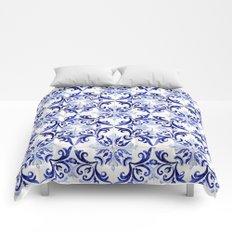 blue tile pattern VI - Azulejos, Portuguese tiles Comforters