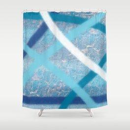 White Blue Stripes 1 Shower Curtain