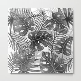 Tropical Leaf Pattern - WB Metal Print