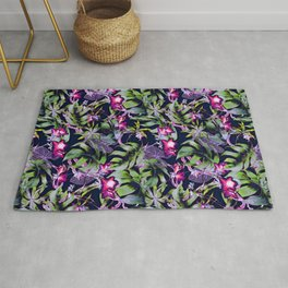 Romantic night botanical garden Rug