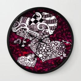 Punk Hearts Wall Clock