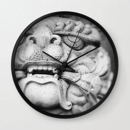 Foo Dog - black and white Wall Clock