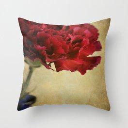 Single Dark red Carnation flower in deep blue bottle. Throw Pillow