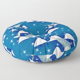 Sea unicorn - Narwhal blue Floor Pillow
