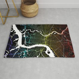 Colourful City Map of Philadelphia, PA Rug
