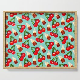 Cherry Cola Gummy Candy Pattern - Blue Serving Tray