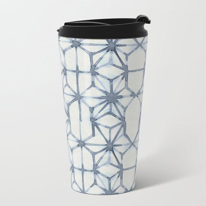 Simply Shibori Stars in Indigo Blue on Lunar Gray Metal Travel Mug