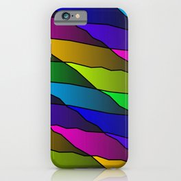 Slanting rainbow lines and rhombuses on pink with intersection of glare. iPhone Case