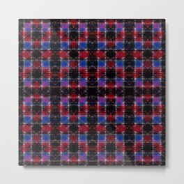 Cart Handle Semi-Plaid In Red, Pink, Blue, and Black Metal Print
