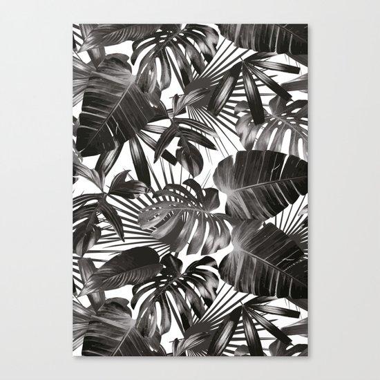 palm leaves grey seamless pattern Canvas Print