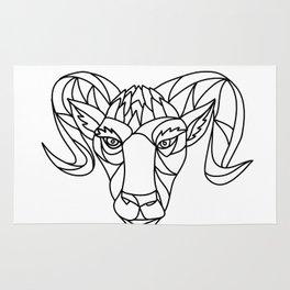 Bighorn Sheep Ram Mosaic Black and White Rug