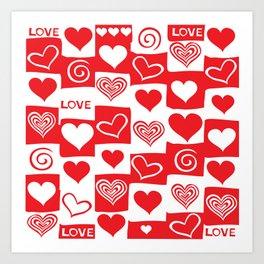 Love Pattern Text & Hearts Art Print