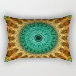 Mandala with green, brown and golden ornaments Rectangular Pillow