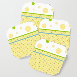 Yellow Dots, Blue, Green, Dots, Circles Coaster