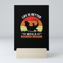 Bearded Dragon Reptile Lizard Fan Gift Mini Art Print