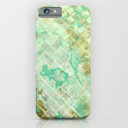 Turquoise & Gold marble mosaic iPhone Case