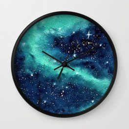 Northern Lights galaxy watercolor landscape painting Wall Clock
