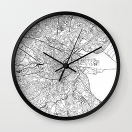 Dublin White Map Wall Clock