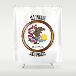 Illinois Proud Flag Button Shower Curtain