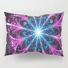Winter violet glittered Snowflake or flower Background Pillow Sham