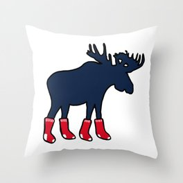Moose In Red Socks Throw Pillow