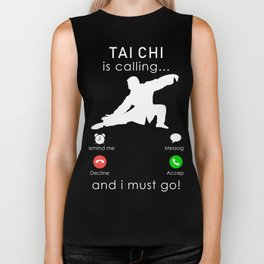 taichi is calling and i must go t-shirt for christmas Biker Tank