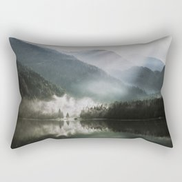 Dreamlike Morning at the Lake - Nature Forest Mountain Photography Rectangular Pillow