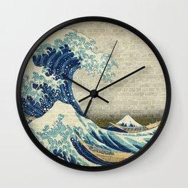 Brick Wall Painting Japanese Great Wave off Kanagawa - Urban Artist Wall Clock