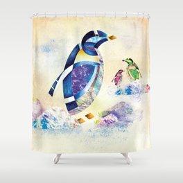 Animal Calligraphy (AR) Penguins Shower Curtain