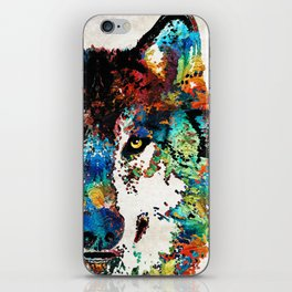 Wolf Art Print - Hungry - By Sharon Cummings iPhone Skin