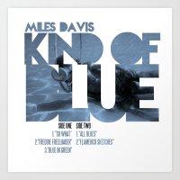 miles davis Art Prints featuring Kind Of Blue - Miles Davis / Album Cover Art LP Poster  by FunnyFaceArt