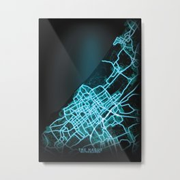 The Hague, Netherlands, Blue, White, Neon, Glow, City, Map Metal Print