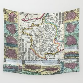 Vintage Map of France (1747) Wall Tapestry
